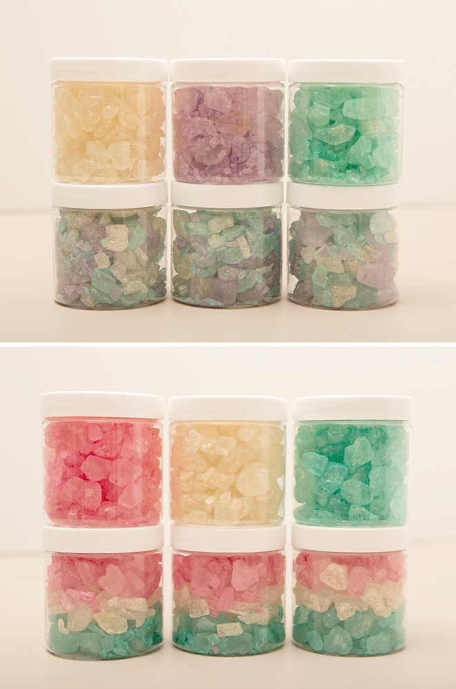 You HAVE to see these gorgeous, giant sparkling bath salts, learn how to easy they are to make!