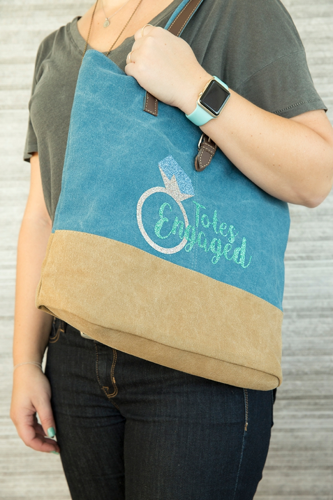 Make your own iron-on Totes Engaged tote bag using our free SVG file!