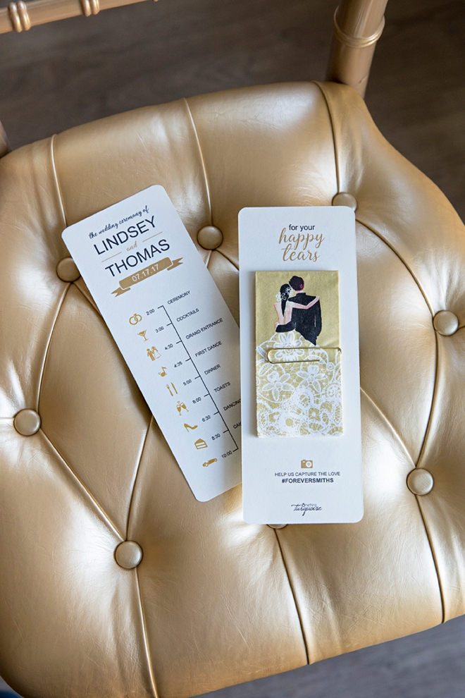 Edit and print your own timeline wedding programs with a cute wedding tissue added to the back!