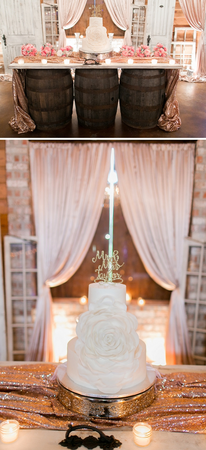 Check out this couple's stunning wedding cake with gold glitter topper!