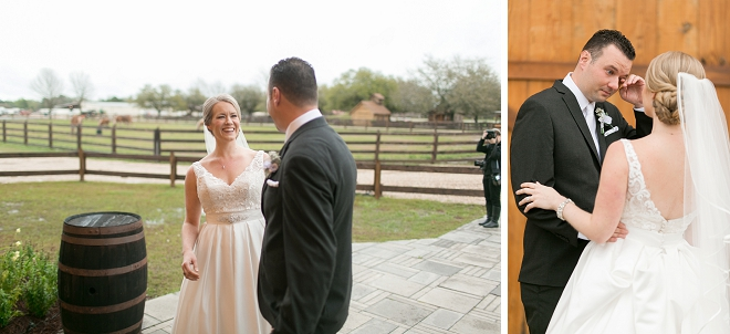 Such a cute first look between Mr. and Mrs. before the ceremony!