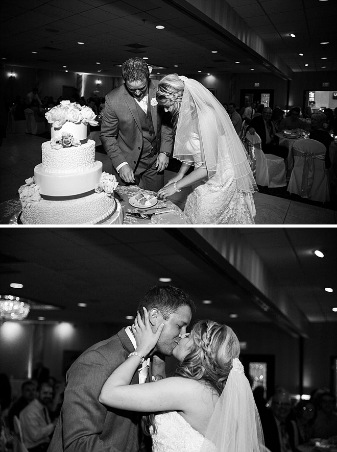 Such a sweet snap of this couple's cake cutting!