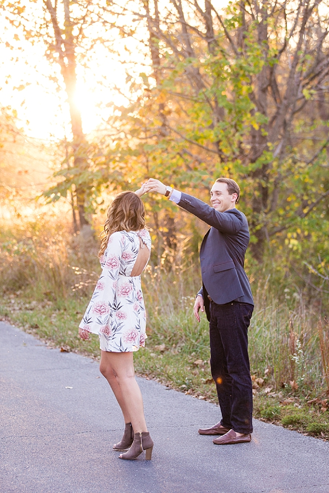 We love this mid-dancing snap at this couple's darling engagement session!