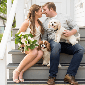 We love this stunning engagement with pups!