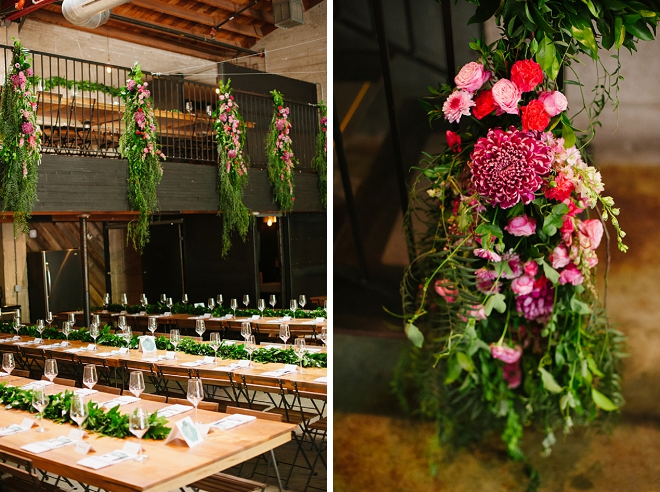 We're SWOONING over these farmhouse greenery covered reception tables!