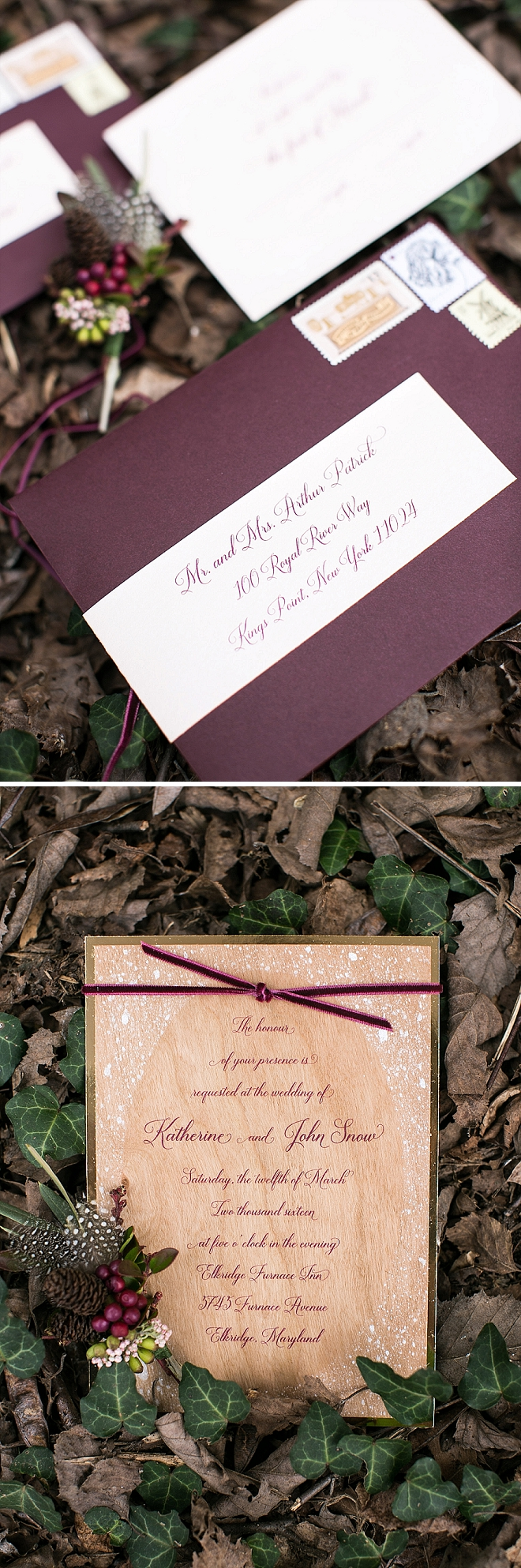 We love these stunning wooden invitations at this styled Snow White wedding!