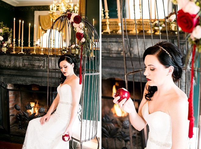 How darling is this apple place card at this gorgeous Snow White styled wedding?! LOVE!