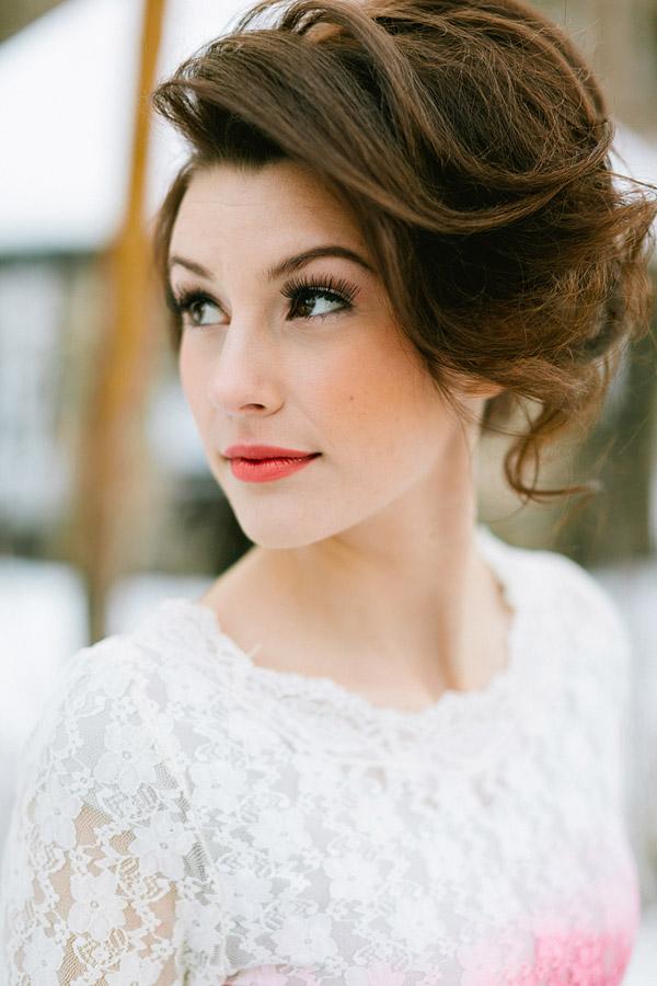 Orange lipstick on a bride.  Gorgeous!