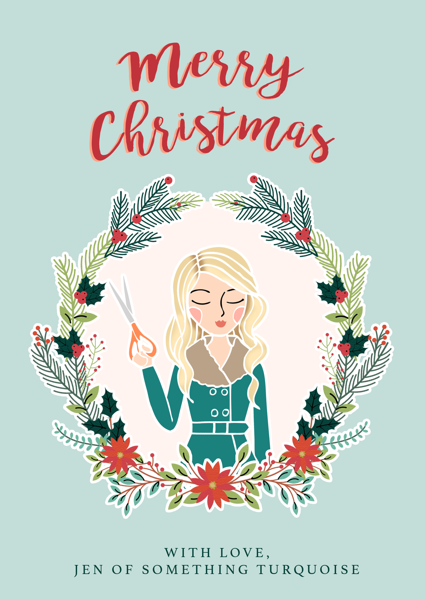 Merry Christmas from Jen of Something Turquoise, by Lily and Threads