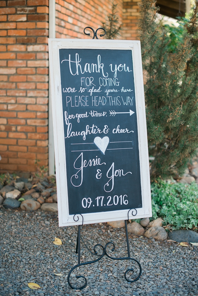 We love this couple's sweet wedding reception sign!