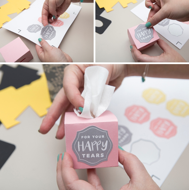 Use o nosso livre arquivo Cricut Explore para imprimir e cortar estas pequenas caixas de tecido para sua cerimônia de casamento!