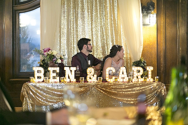 Love this shot of the Mr. and Mrs at their stunning sweetheart table!