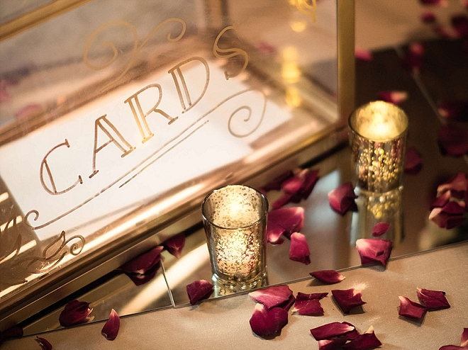 How cute is this couple's mirrored card signage at their reception?! LOVE!