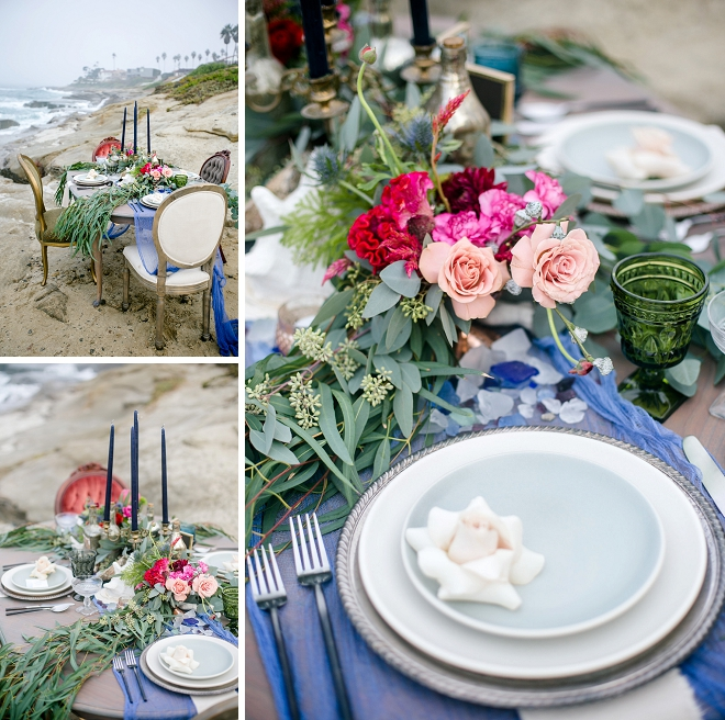 We love this dreamy tablescape set-up at this stunning styled beach wedding!