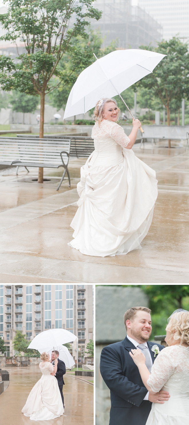 The Bride and Groom's darling first look in the rain!