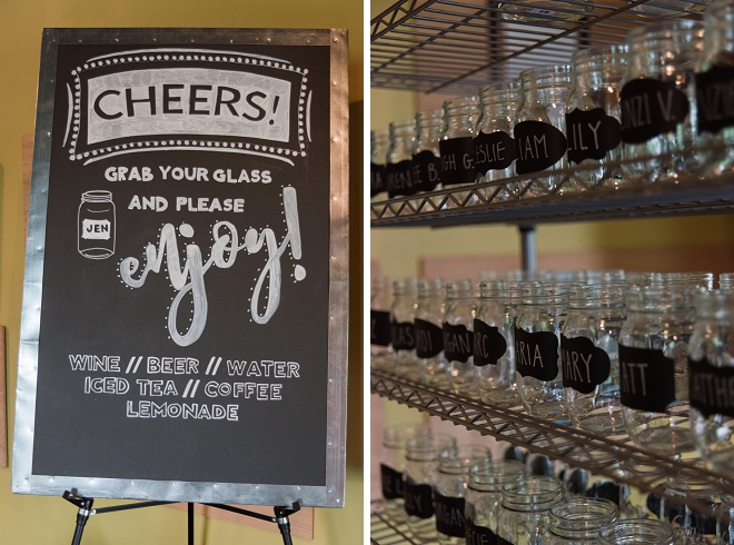 We love this guest list labeled mason jar cart for the guests to enjoy!