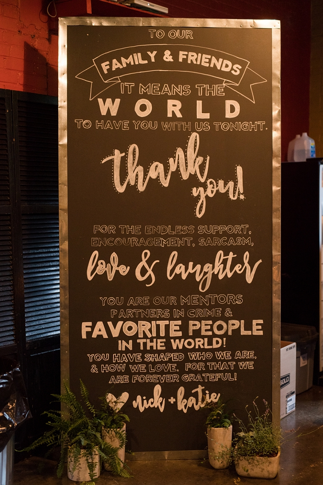 We love this hand lettered thank you chalkboard!