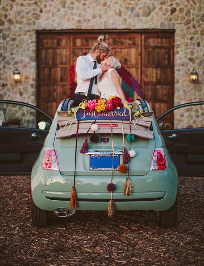 Eclectic and happy getaway car decor