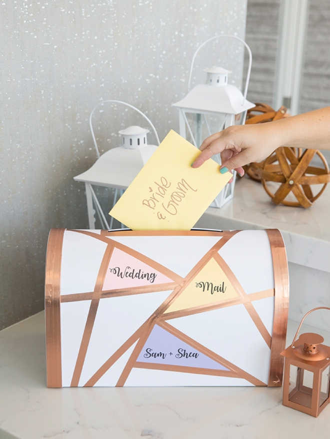 Adorable DIY geometric wedding mailbox card box