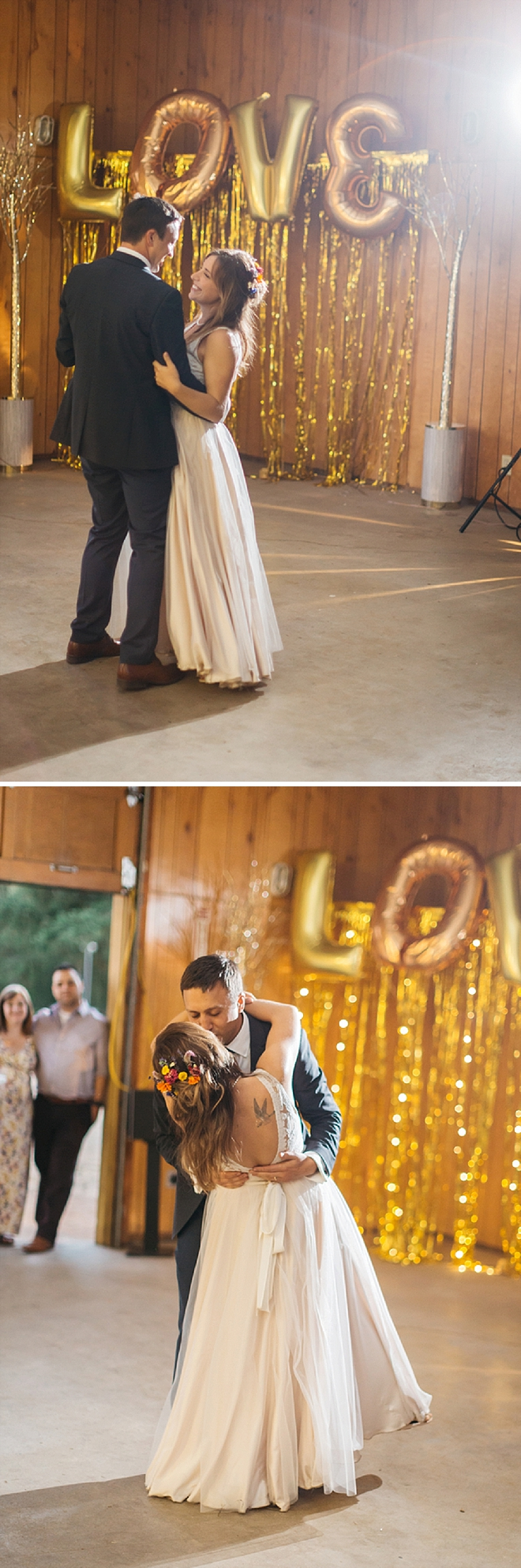 We're loving this first dance as Mr. and Mrs! Check out those love balloons!