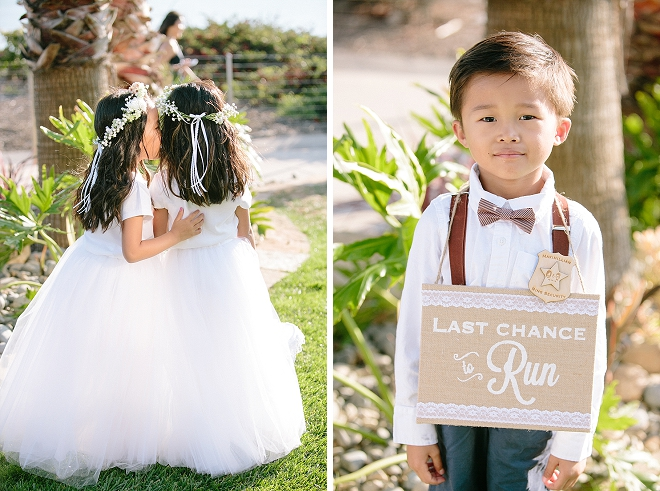 How cute are the flowers girls and ring bearer at this stunning wedding?!