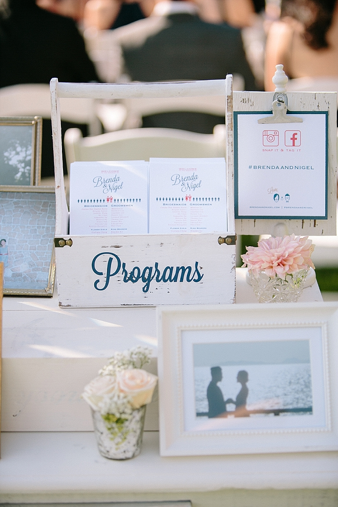 Loving this couple's welcome table at the ceremony!