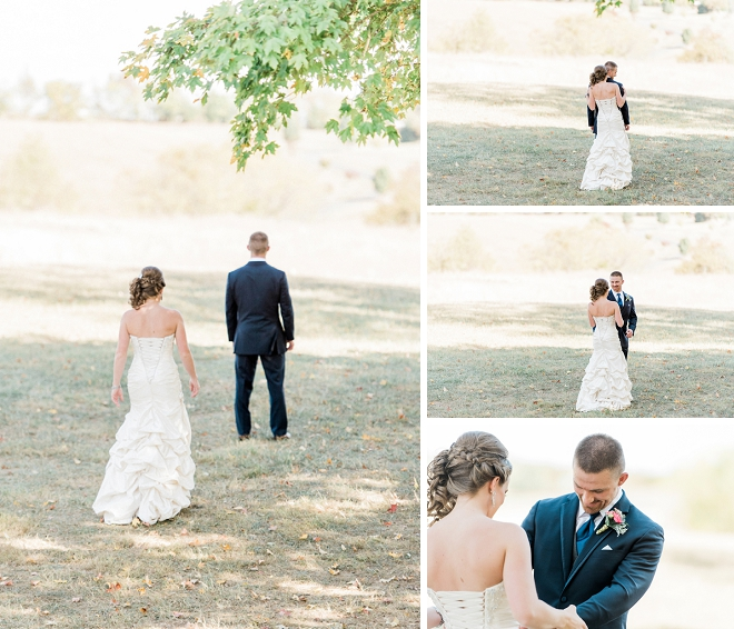 Such a sweet first look between the bride and groom!