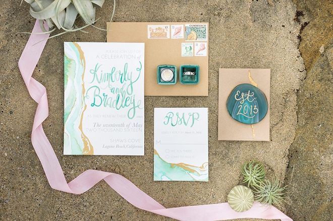 We're in love with this turquoise watercolor invitation suite!
