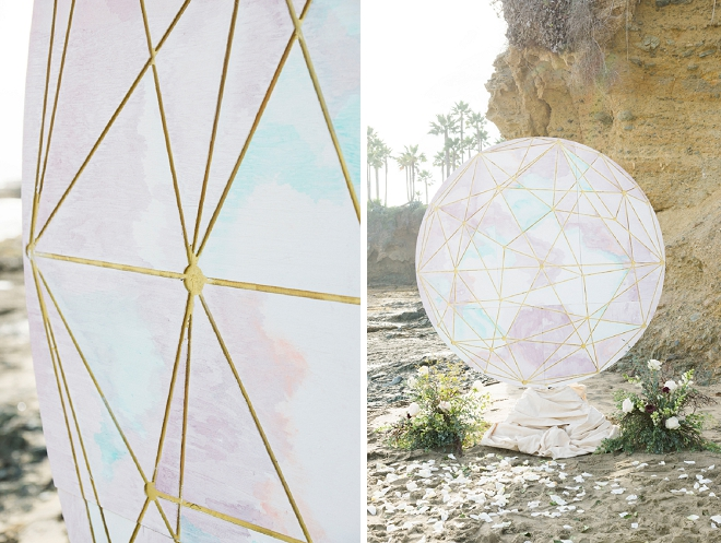 Check out this amazingly cool paper moon globe this couple used as their backdrop! LOVE!