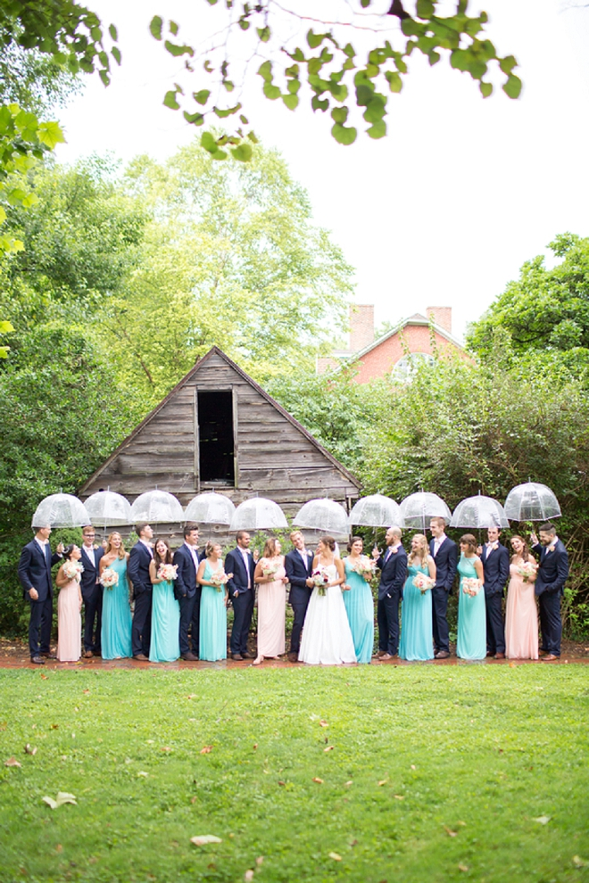 We love a rainy wedding and this bridal party doesn't disappoint!