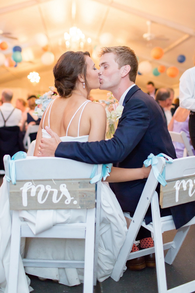 We LOVE this snap of this darling couple at their reception!