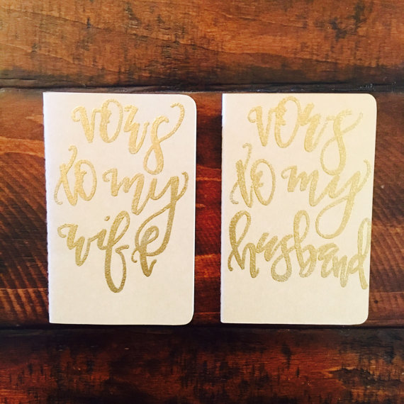How stunning are these Mr. and Mrs. vow notebooks?!