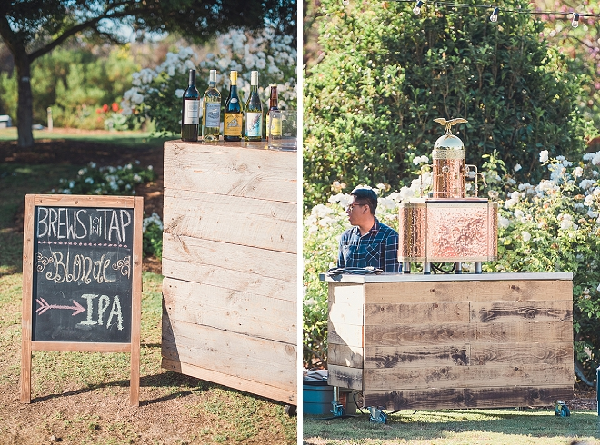 This couple brought the beer to their reception with this crafty beer on tap station! So fun!