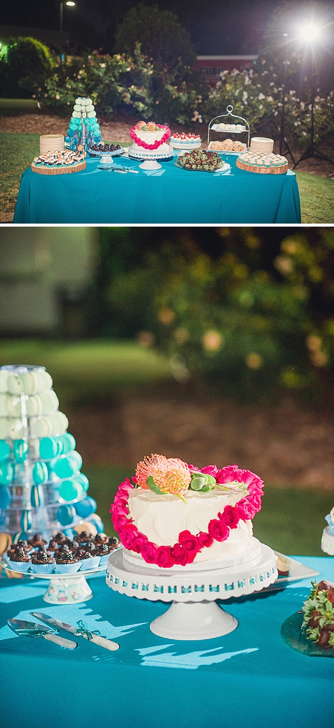 We love this couple's darling dessert table!