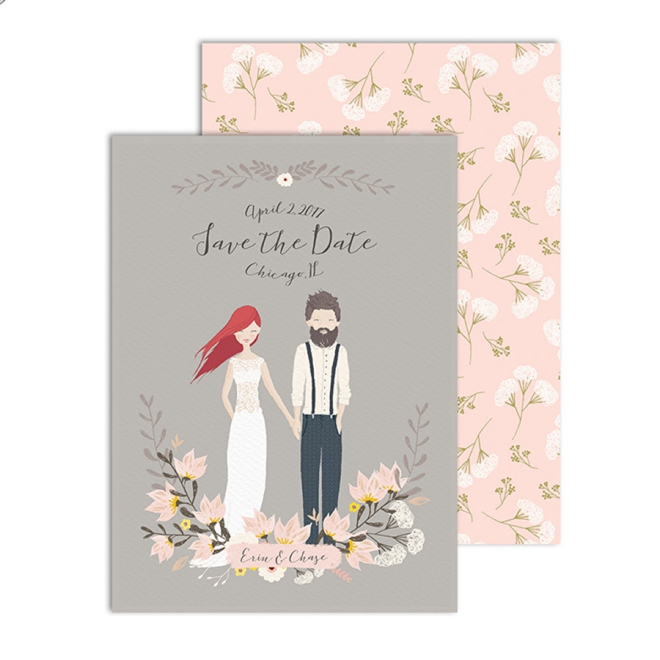 Custom Illustrated Couple Save the Date by Freckled Fox Prints
