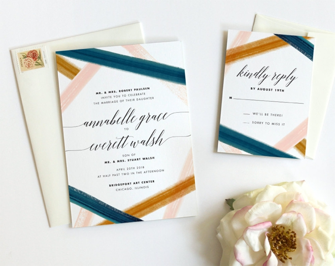 Modern Watercolor Wedding Invitations by Fine Day Press