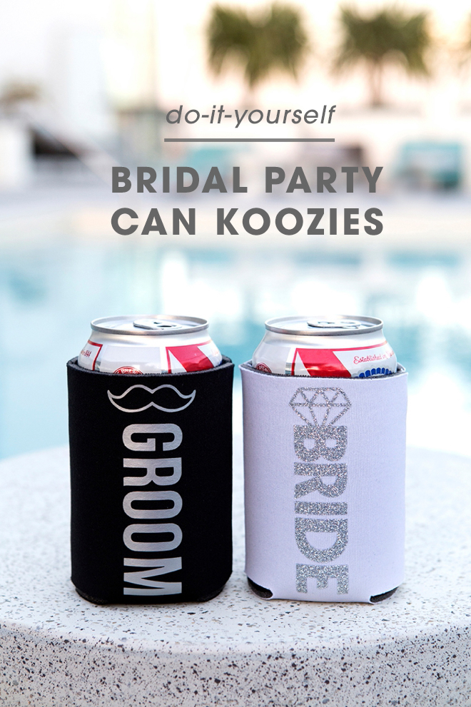 How cute are these DIY bridal party can koozies!?