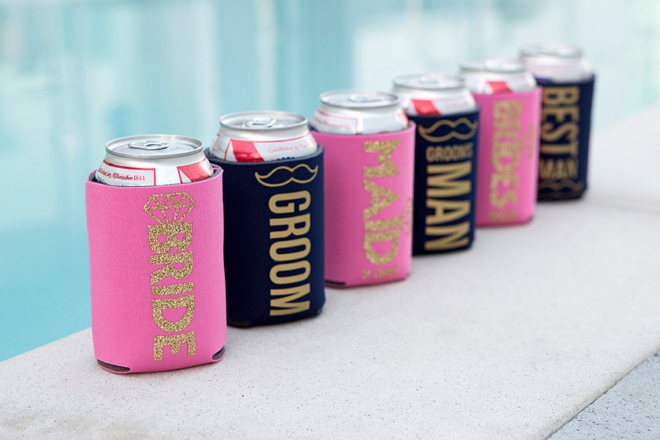 Learn how to make these custom can koozies with Cricut iron-on material!