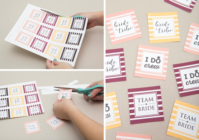 Print one of our 3 free labels and make these adorable mini wine gifts for your bridesmaids!