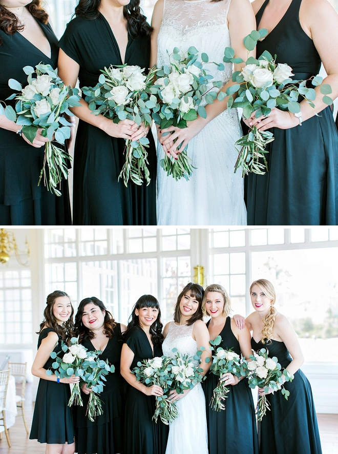 Such a cute snap of the Bride and her Bridesmaids! We're LOVING these black Bridesmaid's dresses!!