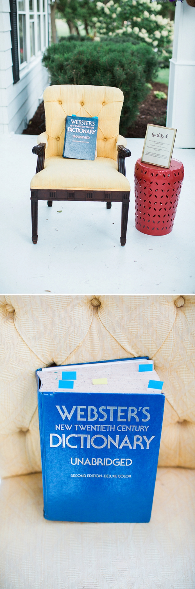 OMG! How darling is this dictionary guest book idea?! So cute and original!