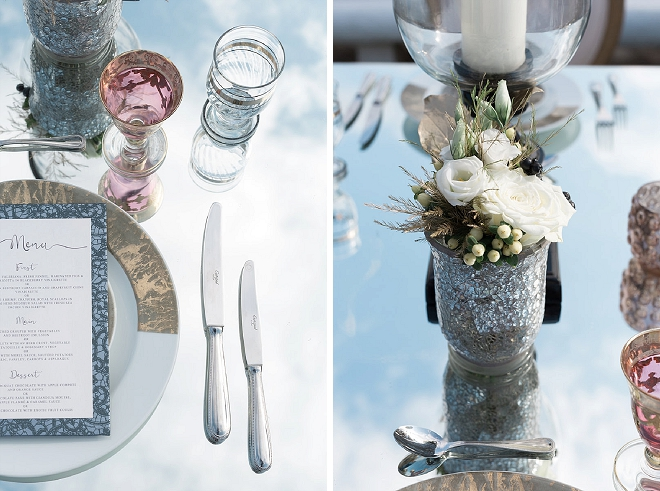 How stunning is this mirrored table and metallic accents tablescape?! LOVE!