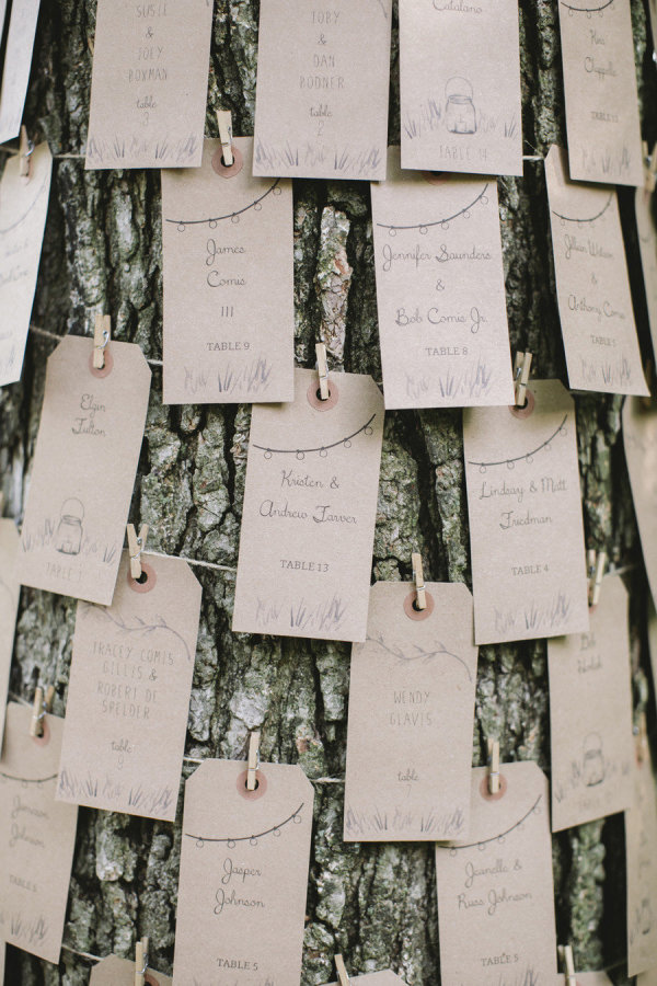 What a cool idea! Escort cards pinned to a tree for an outdoor wedding.