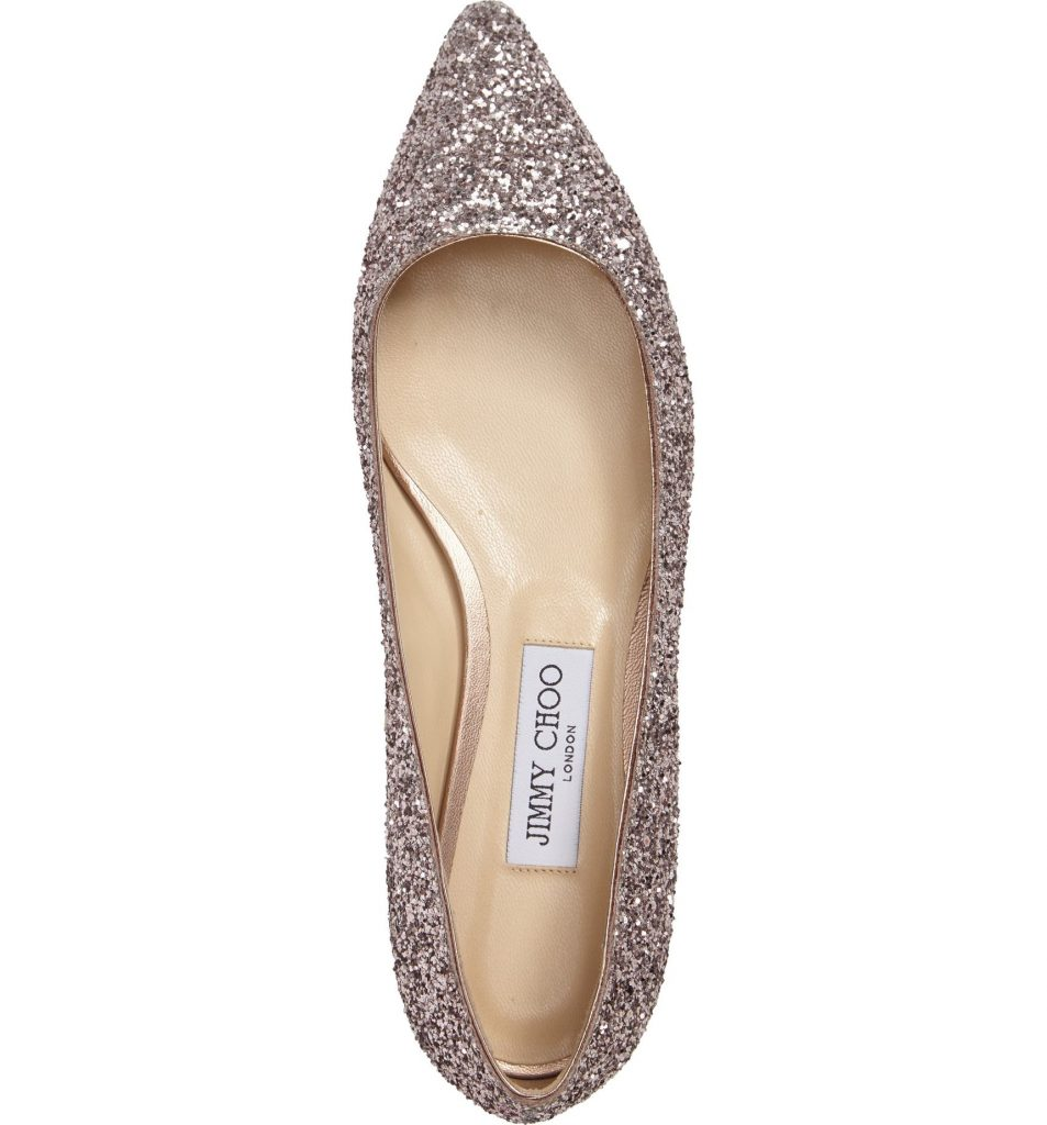 OMG these Jimmy Choo Romy Glitter Flats are so perfect for a backyard, spring wedding!
