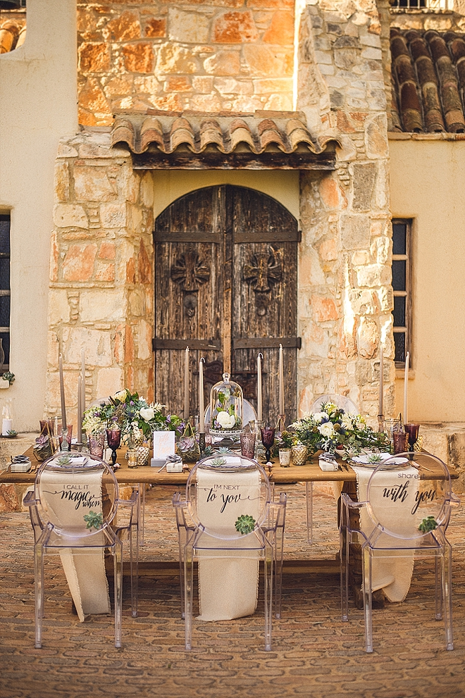 Holy reception! We're in LOVE with these ghost chairs with lettering on the back for your reception!