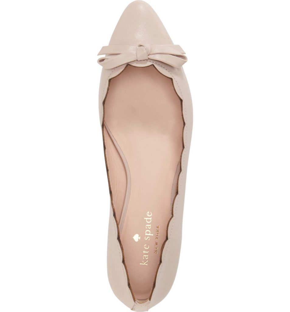 The perfect pink wedding flat: Kate Spade Eleni pointy toe ballet flats.