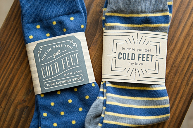 Free printable in case you get cold feet sock labels for a cute groom gift!