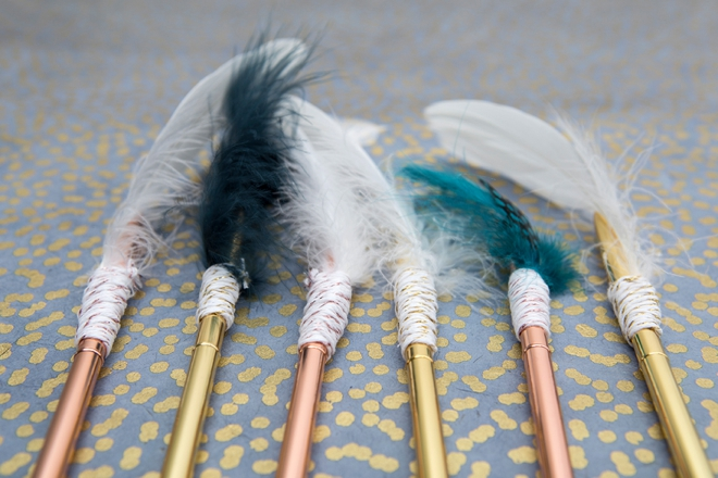 Learn how to embellish these rose gold pens with feathers, boho style!