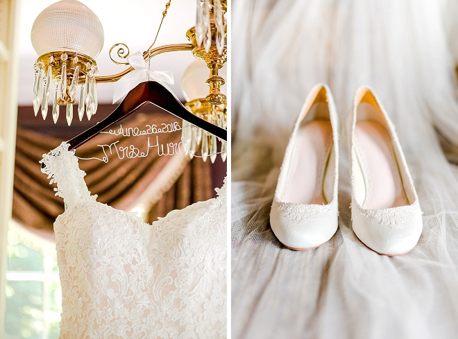 Such a stunning dress snap of this Bride's dress, hanger and shoes!