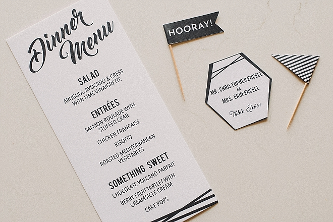 Check out these amazing menu's the Bride custom designed herself! LOVE!